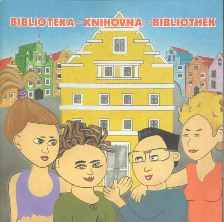Dokumentbild Biblioteka, Knihovna, Bibliothek - dreisprachige Bibliotheksanleitung für Kinder