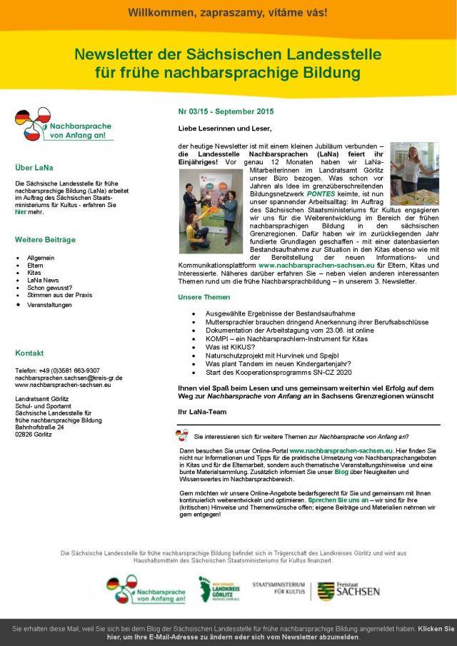 Dokumentbild LaNa-Newsletter Nr. 15/03