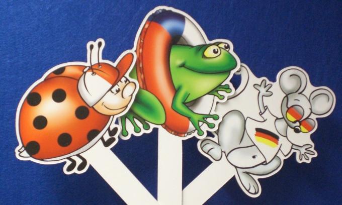 Dokumentbild Stabfiguren Biedronka, Maus und Žába (Kopiervorlagen)