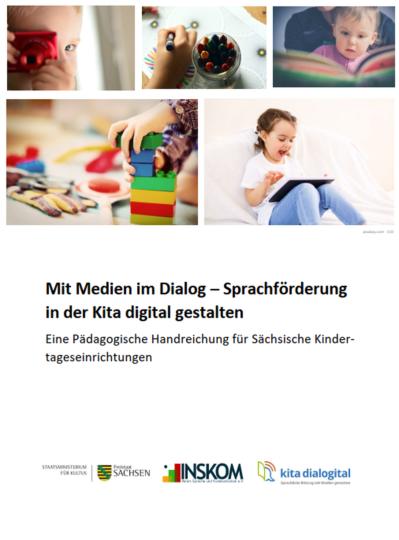 """Dokumentbild Handreichung """"Mit Medien im Dialog - Sprachförderung in der Kita digital gestalten"""""""