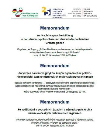 Dokumentbild Memorandum zur Nachbarsprachenbildung in den deutsch-polnischen und deutsch-tschechischen Grenzregionen