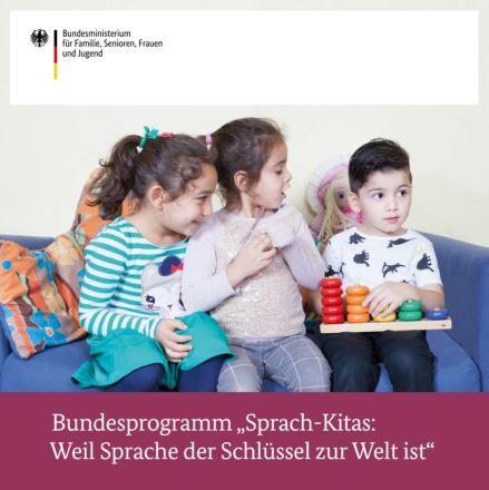 """Dokumentbild Broschüre zum """"Bundesprogramm Sprach-Kitas. Weil Sprache der Schlüssel zur Welt ist."""""""