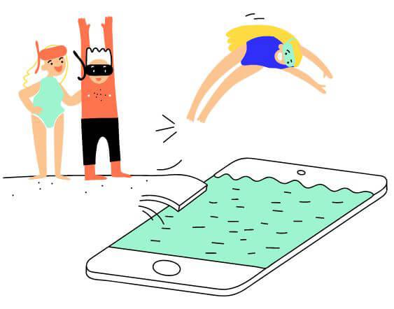 Zeichnung, Kind tausch vom Sprungbrett in ein stilisiertes Pool, welches aussieht wie ein Smartphone