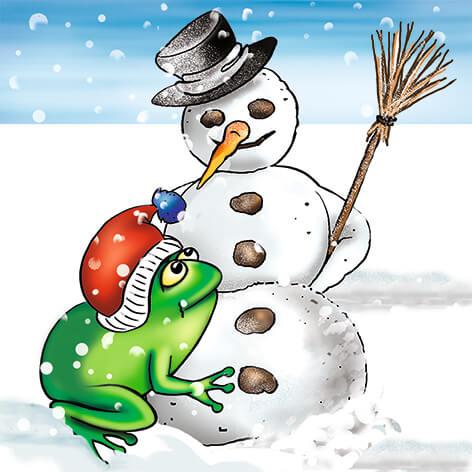 Zeichnung, Frosch mit Pudelmütze steht an einem Schneemann