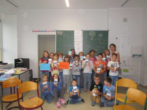 Kindergruppe bei Sprachanimation