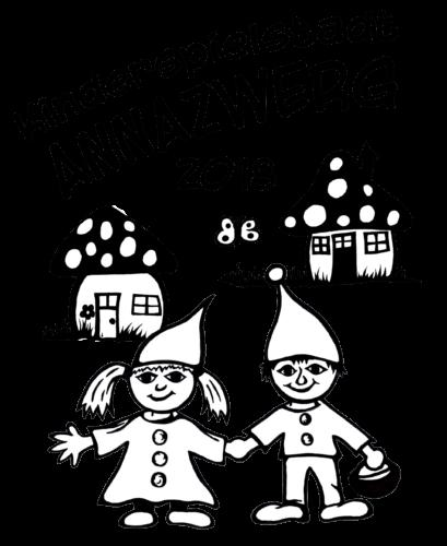 Zwergenmädchen und Zwergenjunge Hand in hand vor Pilzhäuschen